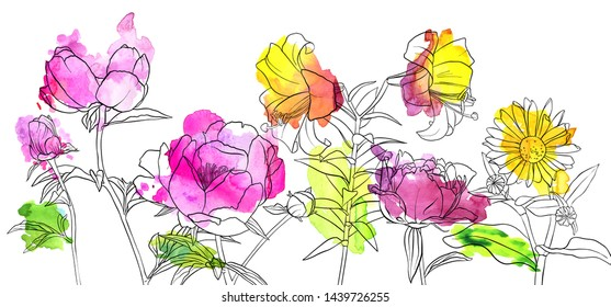 vector drawing flowers with watercolor, floral composition with lilies and peonies, hand drawn art illustration