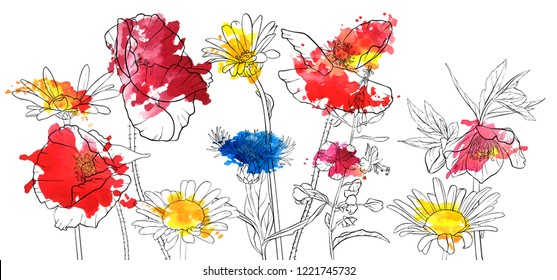 vector drawing flowers with watercolor paint stains, floral composition, hand drawn illustration