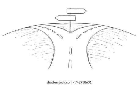 Vector drawing of fork in the road with empty blank decision arrow signs.