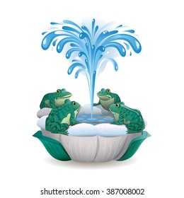 Vector drawing of a fountain with frogs around