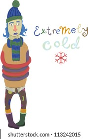 """vector drawing of a freezing guy, a snowflake and an """"extremely cold"""" lettering next to him"""