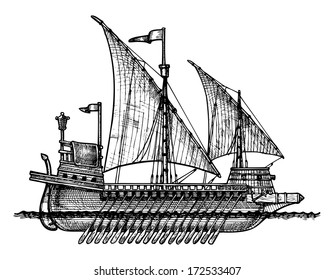 Vector drawing of Galley stylized as engraving.