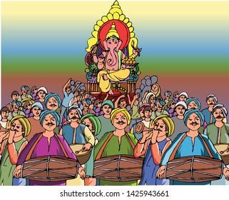 Vector drawing of Ganesh Visarjan In Mumbai - Indian Festival for Ganesh Upasana