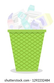 Vector drawing of garbage basket with junk waste white background