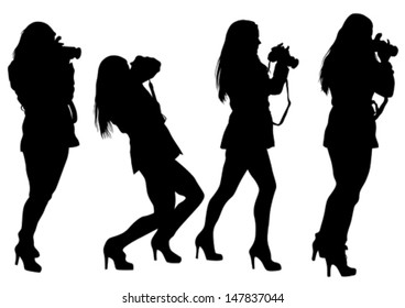 Vector drawing girls with a camera. Property release is attached to the file