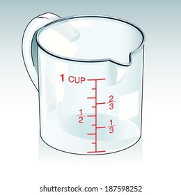 Vector drawing of a glass Lab container/Measuring cup/Easy to edit detailed illustration of a glass lab container, easy to edit groups. Easy to delete background obtain isolated container