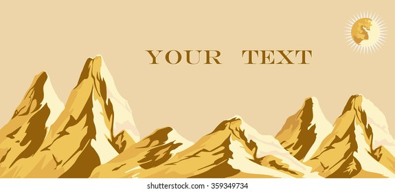 Vector drawing of a golden mountain at sunset