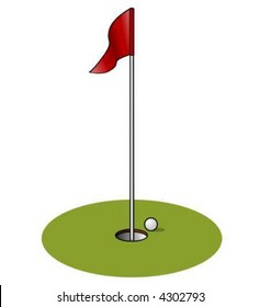 A Vector Drawing of a Golf Hole.