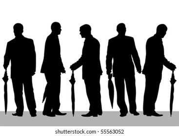 Vector drawing groups of people with umbrellas