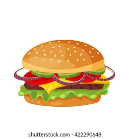 Vector drawing of hamburger with cheese, tomatoes, chop, lettuce, onion, cucumber in flat cartoon style. Illustration for design fast food menu. Hamburger isolated icons.