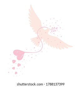 Vector drawing of a handmade dove on a white isolated background, flat style. Symbol, love, bird, packaging, gifts, holiday, postcard, decoration.