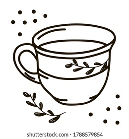 Vector drawing of handmade mug on white isolated background, flat style. Symbol, lunch, tea, coffee, gifts, celebration, decoration.