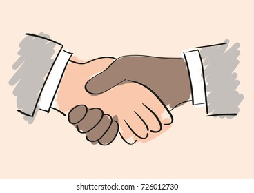 Vector drawing of handshake between a black/brown/afro american and white/caucasian man. Symbol of friendship partnership and cooperation. Business handshake. The cooperation of people, companies