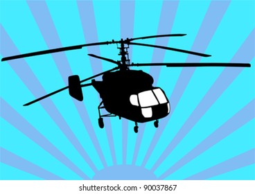 Vector drawing a helicopter in sky