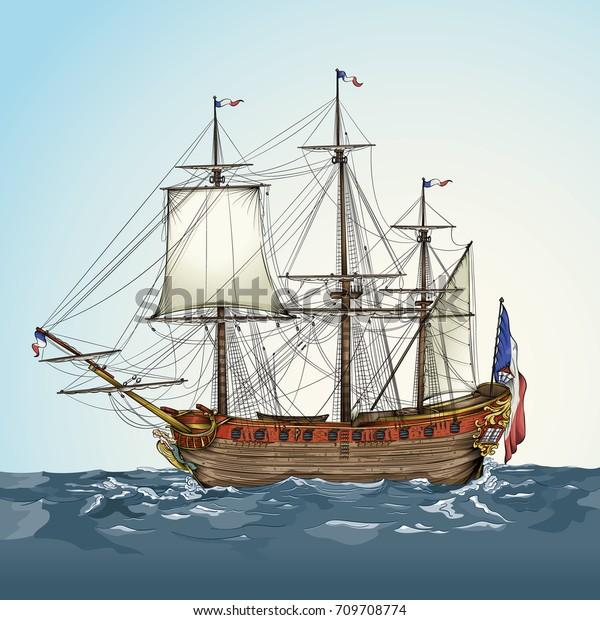 Image Vectorielle De Stock De Dessin Vectoriel D Un Navire Historique 709708774