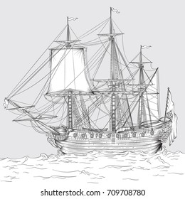 Vector drawing of a / Historic Ship Line art / Easy to edit groups and layers whole ship is available beneath waves layer. Realistic sails and rigging.
