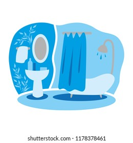 Vector drawing of home interiors. Bathroom. Peace and comfort