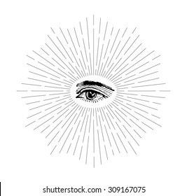Vector drawing of human eye in vintage style on white background. Retro symbol of eye. Vintage style of the image. Hipster style. Rays of the sun. Light rays of burst. Linear drawing.
