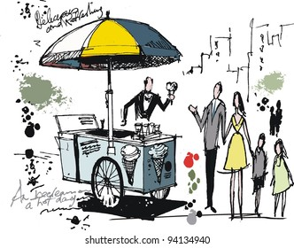 Vector drawing of ice cream cart with people in park