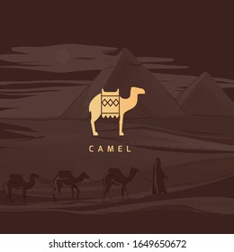 Vector drawing icon of an Egyptian camel. Icon isolated on background illustration of the Egyptian pyramids, painted by hand.