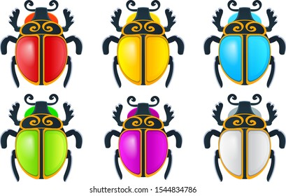 Vector drawing icon of Egyptian scarab beetle. Scarab icons set collection vector 6 color isolated on white background