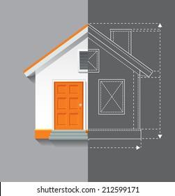 Vector drawing illustration of white orange house on grey background. Half blueprint plan line.