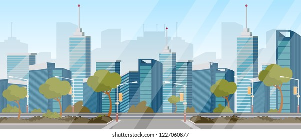 Vector drawing image highway background of city. Vector illustration of a cartoon transport road in the background of the city. Road as an integral part of the city's infrastructure