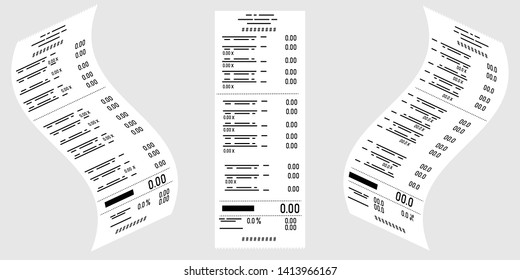 Vector drawing in Isometric . Set of paper financial, cashier's checks, invoice. Receipt of payment for services, purchases. Business, electronic commerce