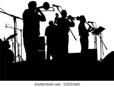 Vector drawing jazz musicians on the stage