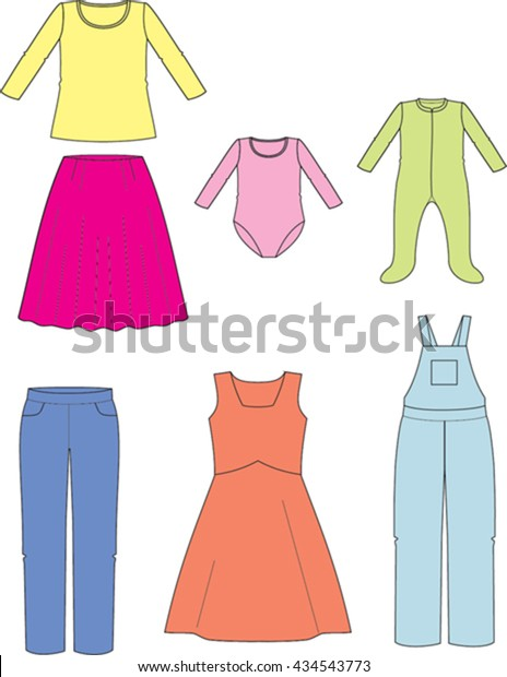 Vector Drawing Kids Dresses Stock Vector (Royalty Free