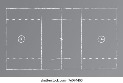 Vector drawing of a lacrosse field on a chalkboard.