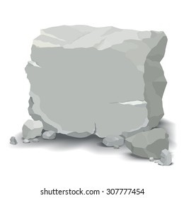 Vector Drawing of a Large / Boulder and Stones / Easy to edit layers for each stone, easy to add text to main large boulder. Transparencies used on shadow layers.