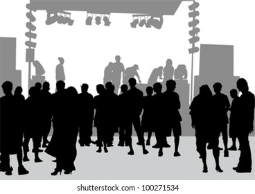 Vector drawing a large crowd in front of stage