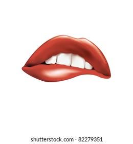 Vector drawing. Lips, a kiss.