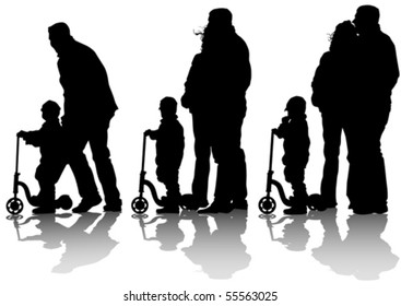 Vector drawing little boy on scooter. Silhouette of people