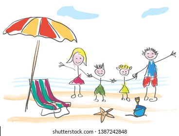 Vector drawing made by a child, happy family on summer vacation at the beach and sea