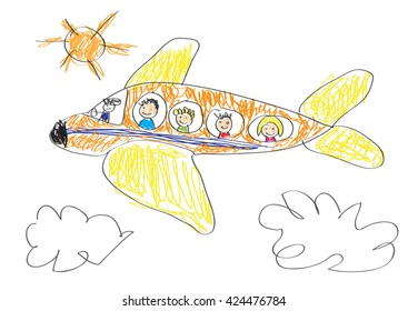 Vector drawing made by a child, happy family that goes on vacation by airplane