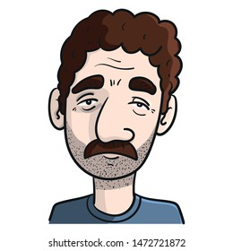 Vector drawing of a man with three days beard and mustache, thick eyebrows and brown curly hair.  Mediterranean appearance, cartoon, colored, vector Illustration.