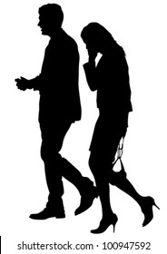 Vector drawing of a man and a woman walking