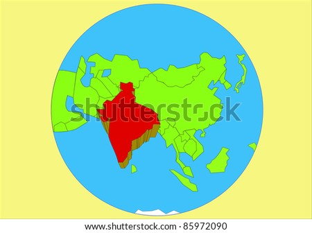 India Map Asia.Vector Drawing Map Asia Country India Stock Vector Royalty Free