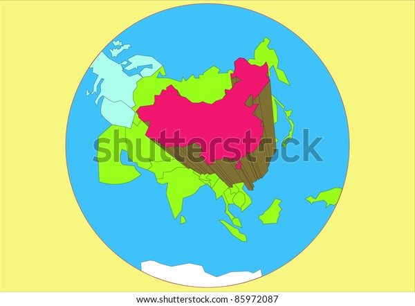 Map Of Asia And China.Vector Drawing Map Asia Country China Stock Vector Royalty Free