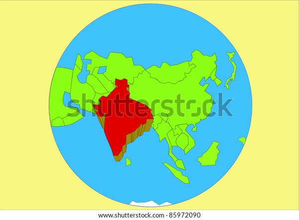 Map Of Asia By Country.Vector Drawing Map Asia Country India Stock Vector Royalty Free