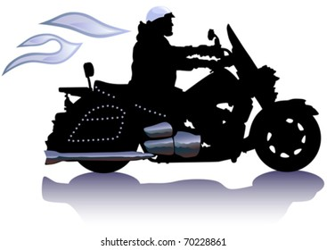 Vector drawing men to big motorcycle. Silhouette on white background