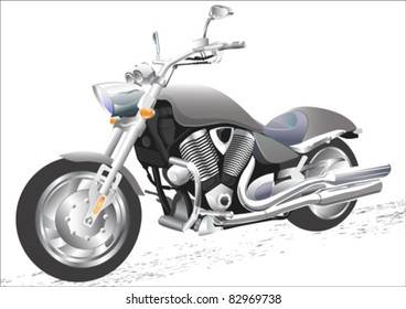 Vector drawing men to big motorcycle
