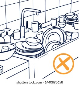 Vector drawing of a messy kitchen and sink. outline drawing blue, yellow, plate, cups, rinse off.