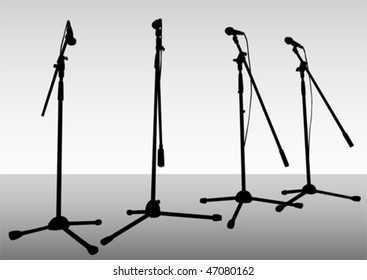 Vector drawing of microphones on theatrical stage