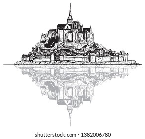 Vector drawing Mont Saint Michel with beautiful water reflection, France