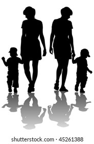 Vector drawing of mothers with children. Silhouettes on white background