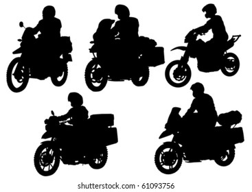 Vector drawing motorcyclist. Silhouette on white background