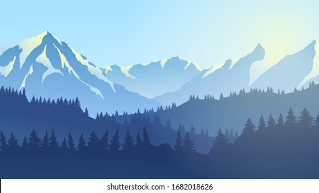 vector drawing mountain panorama, summer day